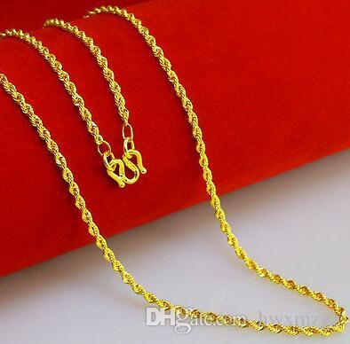 Collana autentica in oro giallo 14K / Collana con catena a maglie a corda / 9-10 g