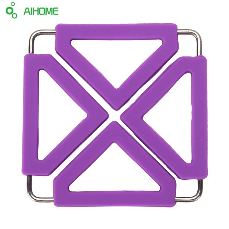 Wholesale- Stainless Steel Silicone Insulated Placemat Folding Table Mats Bowls Mat Dish Mats Pot Holders Coasters 6 Color 1Pcs
