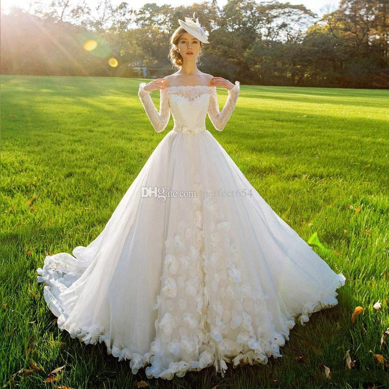 2107 saudi arabia ball gown wedding dress with bow robe de mariage luxury long sleeve wedding