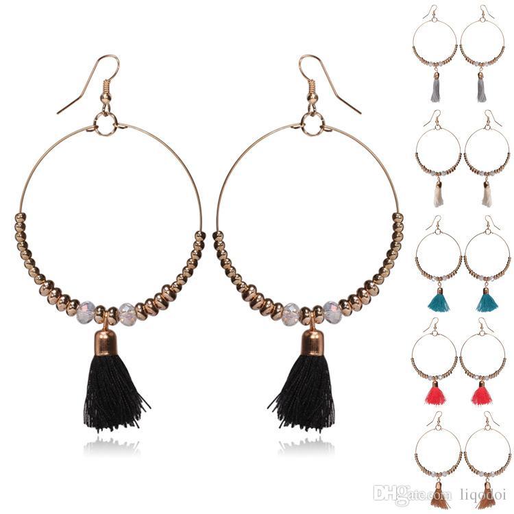 Nuovo arrivo classico bohemien ciondola orecchini nappa design orecchini bella forma rotonda grande ciondola gioielli per le donne