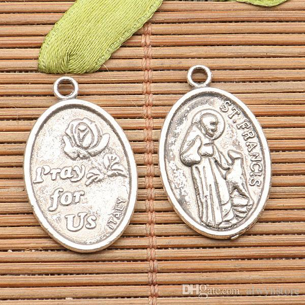2000pcs الفضة التبتية القديس فرنسيس الأسيزي سحر