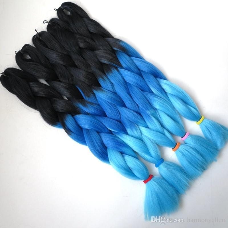 옹 브르 Kanekalon 꼬기 머리 브레이드 100 그램 / 조각 합성 두 톤 고열 섬유 Kanekalon 점보 브레이드 머리 확장