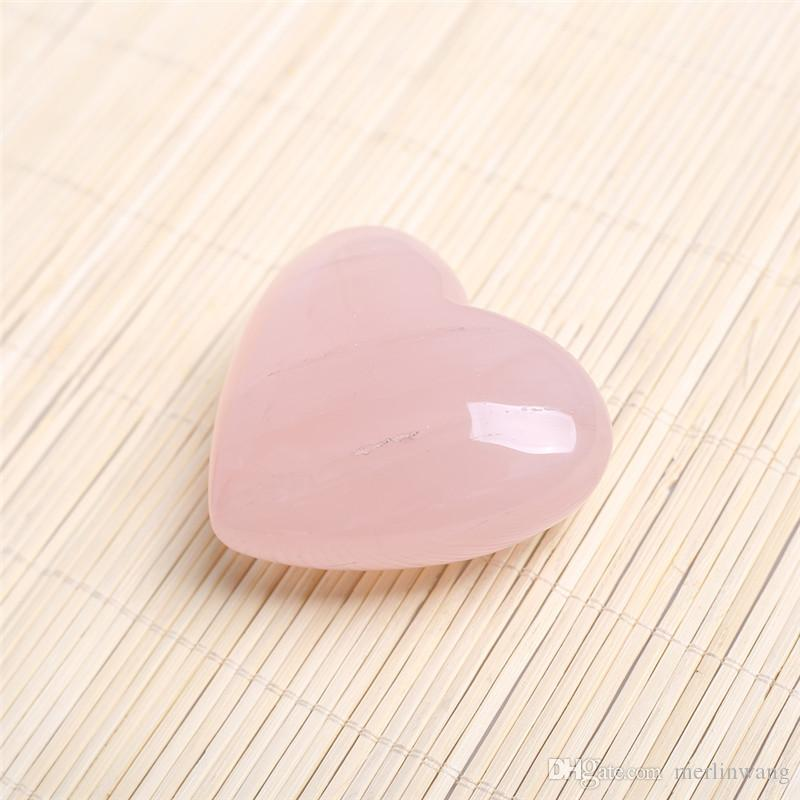 HJT 75mm rose pink Quartz crystal Heart Carving Craft Stone Chakra Healing Reiki Stones Lover gife stone crystal Heart shape