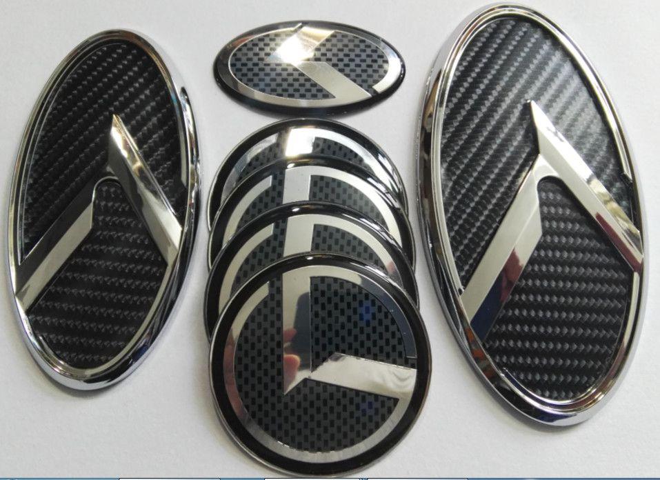 trasporto 1set 7pcs nuovo 3D di carbonio nero K logo emblema distintivo fit ideale di Kia K5 emblemi 2011-2018 / autoadesivo / 3D