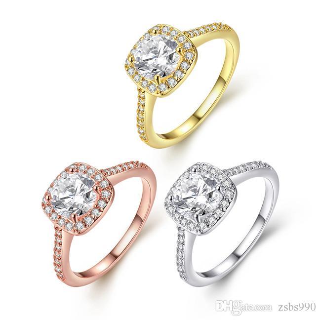 Hot 18K or bague de mariage avec CZ diamant femmes classique charme bijoux 5--9 taille top qualité livraison gratuite