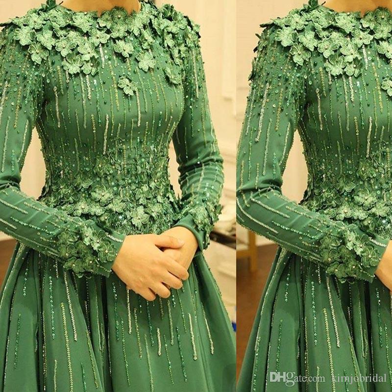 Grün Prom Kleider Rundhalsausschnitt Perlen Pailletten Langarm A Line Hand Made Blumen Bodenlangen Abendkleider Arabisch