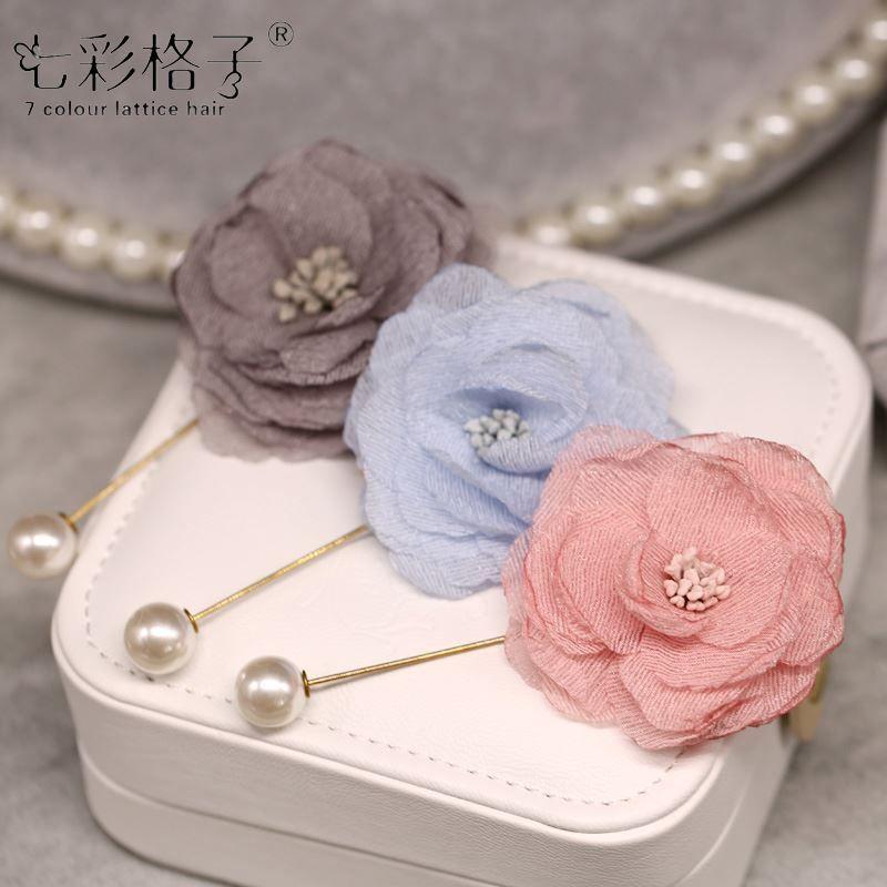 Woman headdress hair South Korea beautiful flowers colorful Plaid hair pin brooch brooch dress coat Camellia jewelry H0080