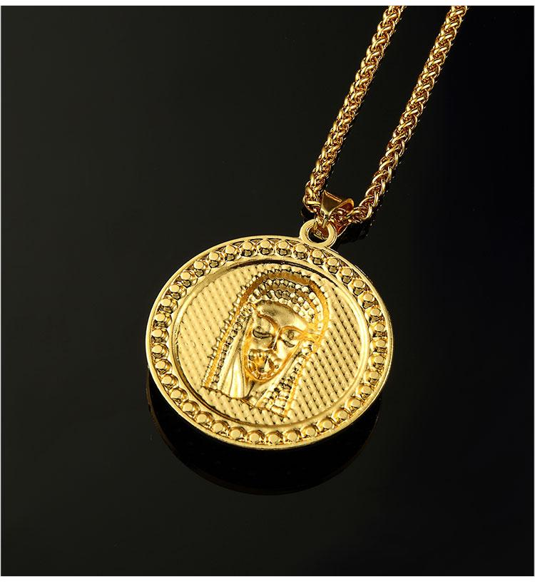 09 hip hop jesus round shape pendant necklace