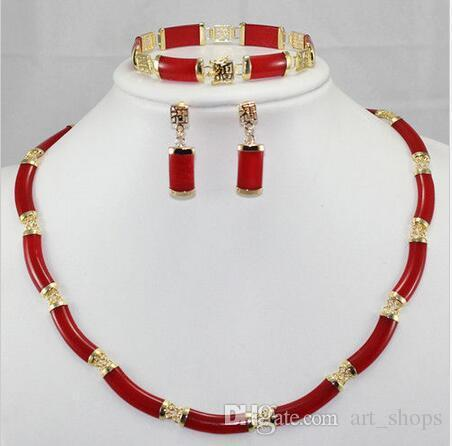 Le plus noble! Ensemble de boucles d'oreilles Bracelet Ruby Link rouge