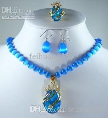 Yeni mavi opal kolye kristal kolye küpe yüzük seti