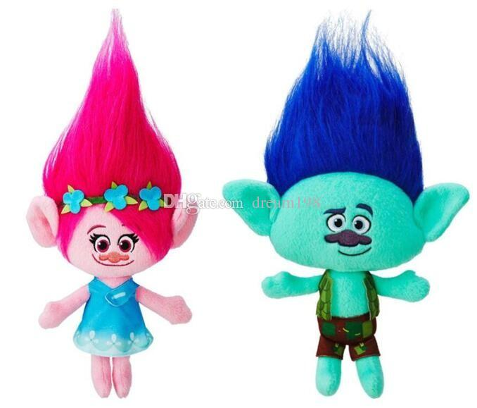 2016 Movie Trolls Plush Toy Poppy Branch Dream Works Stuffed Cartoon Dolls The Good Luck Trolls Christmas Gifts (10pcs/Lot 23cm )D002