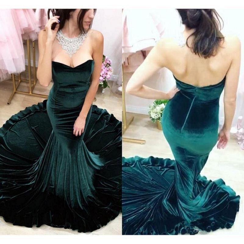 2017 Hunter Velours Sirène Robes De Soirée Sans Bretelles Robes De Fiesta Sans Dos Sans Manches Dubai Arabe Sexy Prom Party Robes