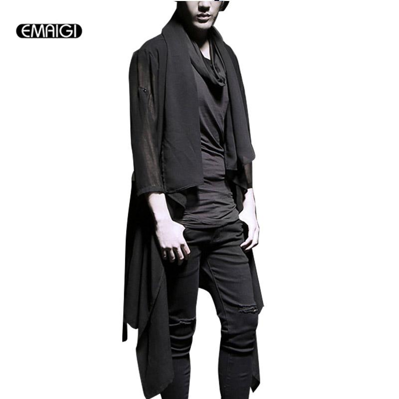 Atacado- primavera verão masculina xale casaco cardigan revestimento protetor solar moda masculina show punk trench coat K658