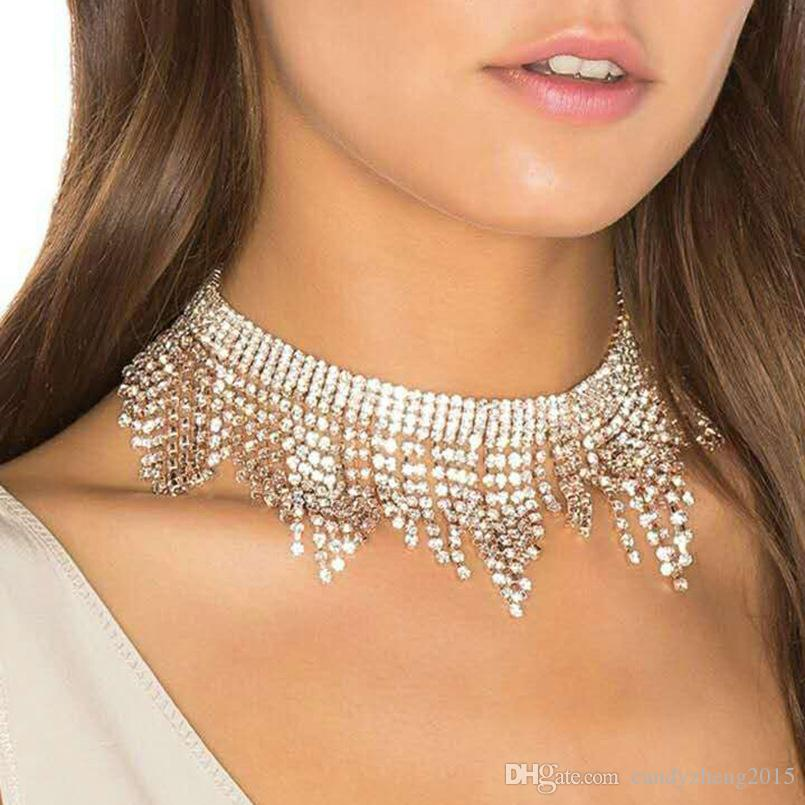 Elegant Sexy Jewelry Flannel tassel Short Choker chain Alloyed Woman Girl Wave Man made Diamond Neckalce for Party Wedding