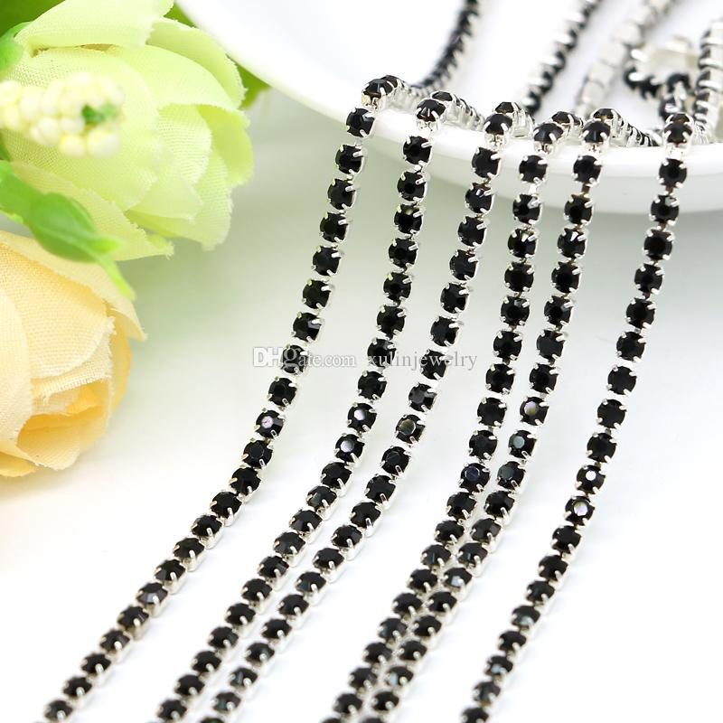 SS6.5-SS12 Brass Sliver Claw Chains Jet Black Rhinestone Crystal Cup Chain for Jewelry Making, 10Meters/Pack
