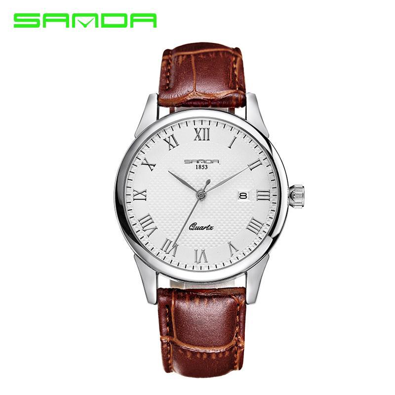 Новые Женщины Мужчины кварца любовников SANDA часы Мужчины Classic Дата Водонепроницаемый Мужской Часы наручные Relogio Мужчина для