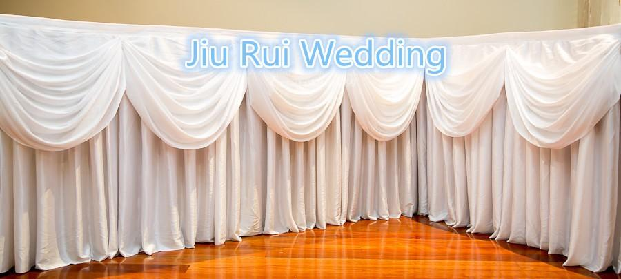 Free Shipping ALL Size Colorful Customized Shine Ice Silk Table Skirt Table Skirting With Swag For Wedding Decoration