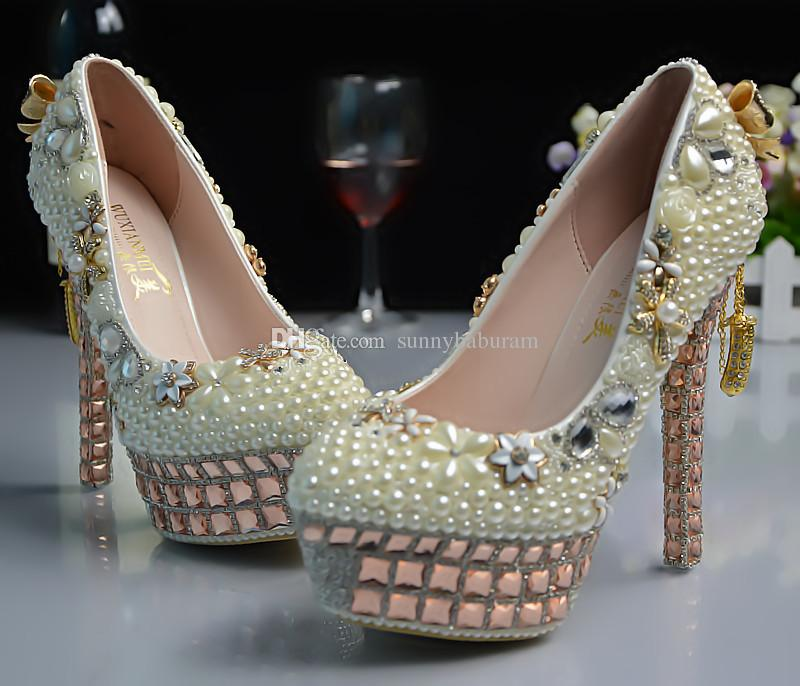 Ivory Champagne Peals Gems Chains Cinderella Shoes Hand-made Prom Evening High Heels Beading Rhinestones Bridal Bridesmaid Wedding Shoes