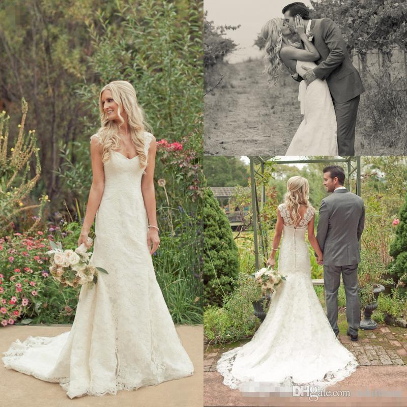 Cheap Country Boho Wedding Dresses Lace Modest 2017 With Cap Sleeves Sweep Train Custom Made Bohemian