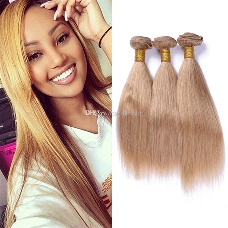 3Pcs Lot Strawberry Blonde Virgin Malaysian Straight Hair Bundles Color #27 Honey Blonde Human Hair Weaves 8A Cheap Blonde Hair