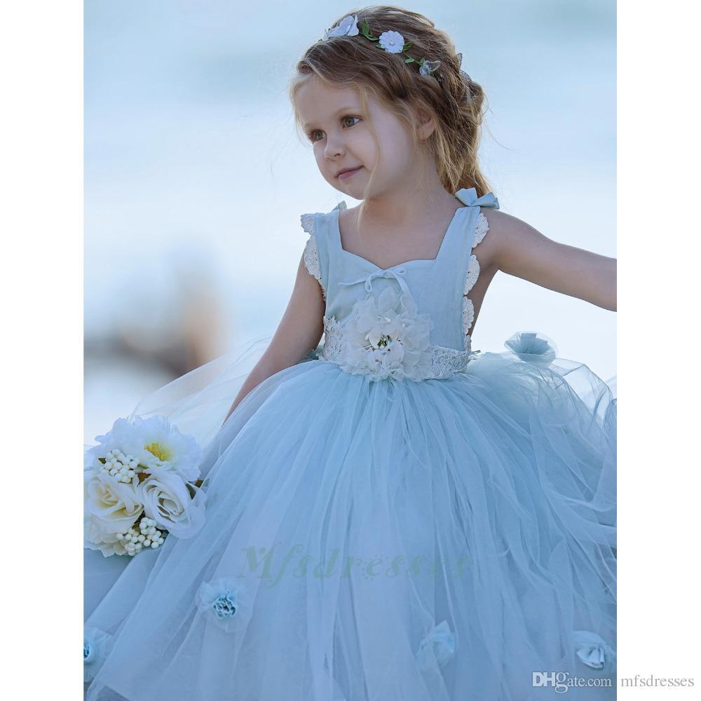2017 Fairy Square Collar Criss Cross cinghie Ball Gown Tulle Long Flower Girl Abiti con fiori fatti a mano ragazze Festa di compleanno Abiti