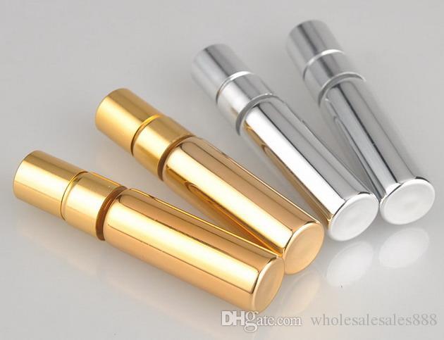 200pcs 5ML UV Boş Cam Doldurulabilir Parfüm Şişesi Atomizer parfüm şişeleri Parfüm Şişesi altın gümüş rengi Sprey