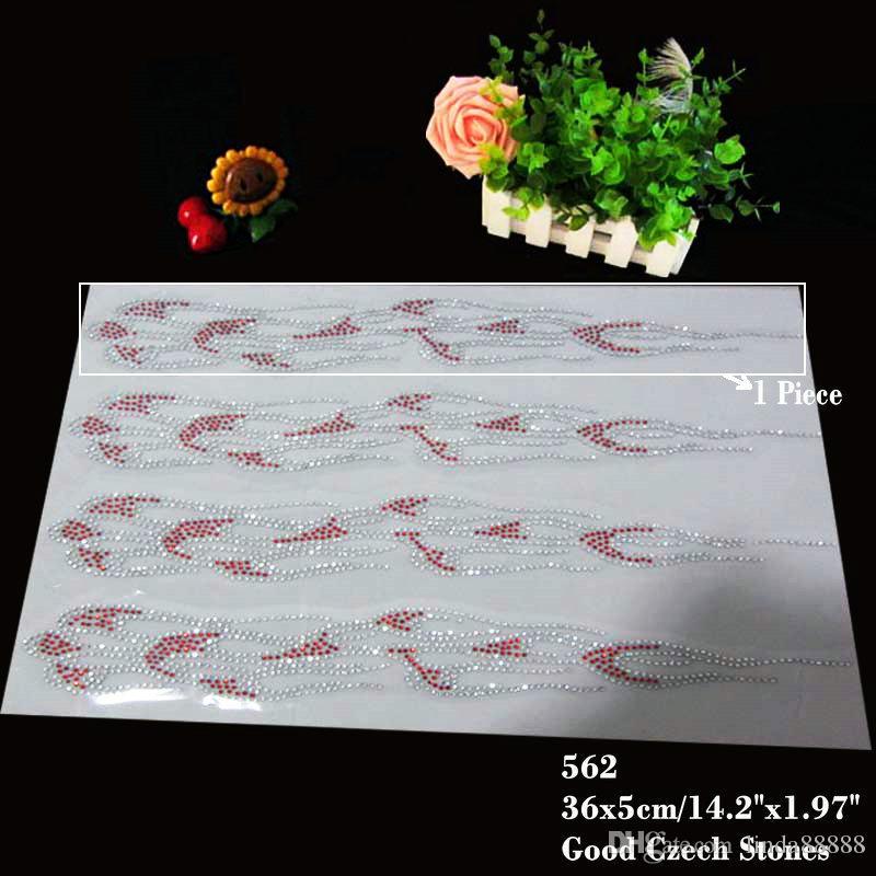 Flame Border Pattern Rhinestone Iron On Hotfix Crystal And Red Diamante T Shirt Lace Motif 32pcs/lot.