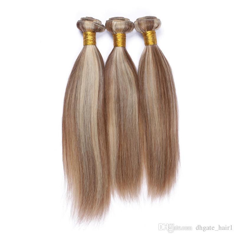 Recto peruano n. ° 8/613 Color de piano mezclado Paquetes de cabello humano Marrón claro y rubio Color de piano mezclado Doble tramas Ombre Telas de cabello humano