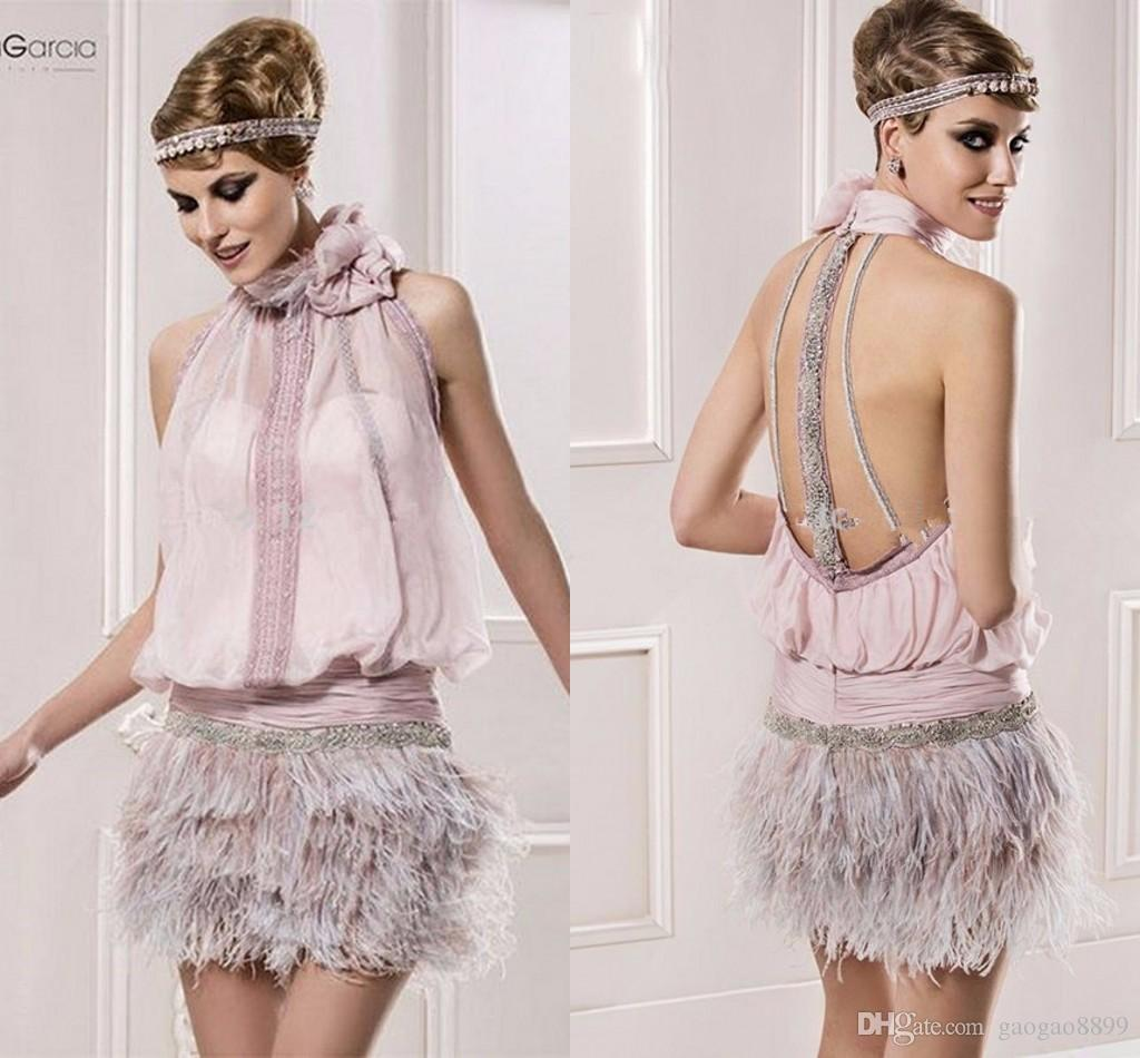 Vintage Great Gatsby Pink High Neck Short Prom Formal Dresses with Feather Sparkly Beaded Backless Cocktail Party Occasion Gown