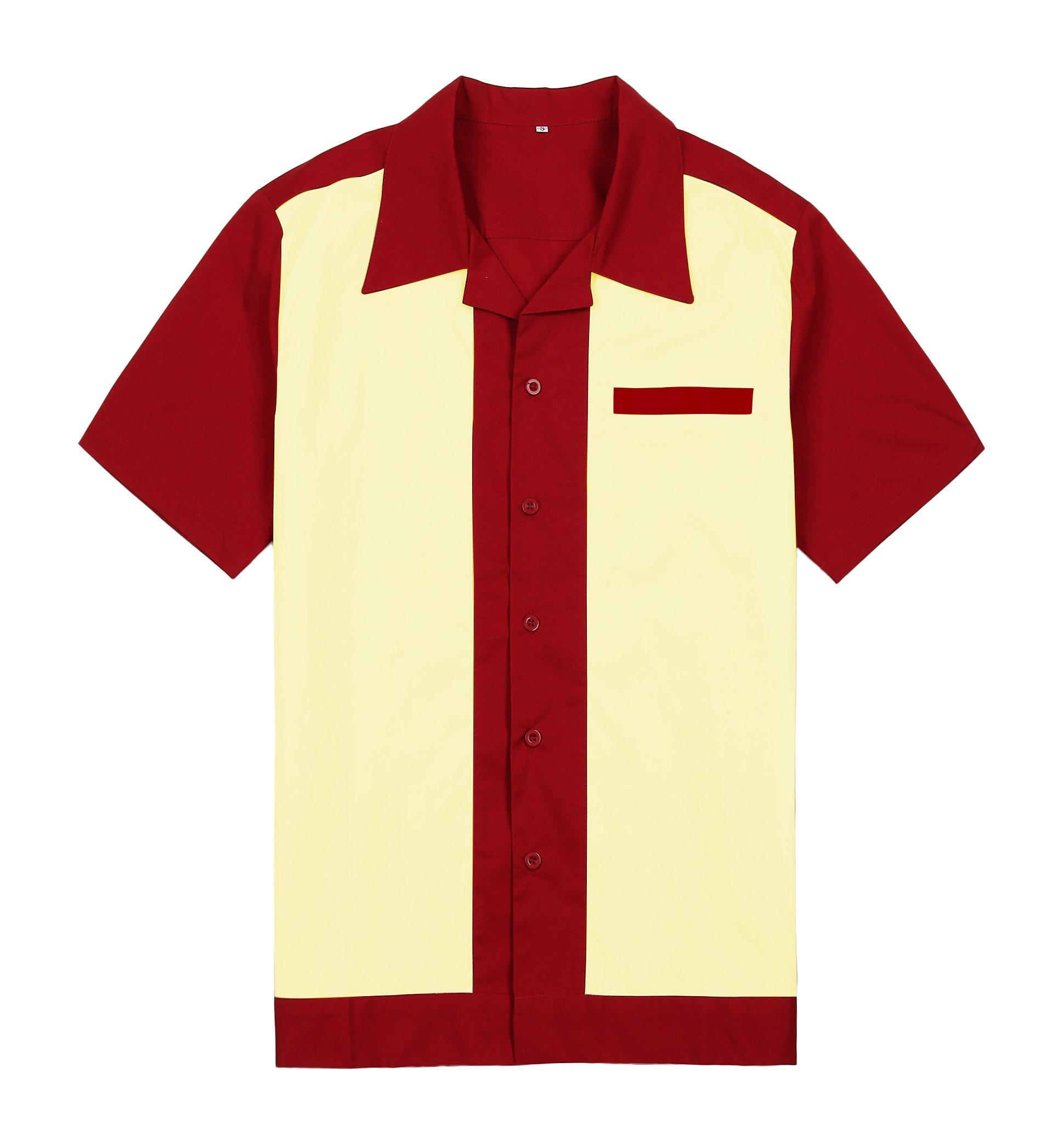 Wholesale- Mens Purple Wear 패널 색상 짧은 소매 단추, 남성용면 50 50 년대 빈티지 캐쥬얼 디자이너 셔츠 무료 배송