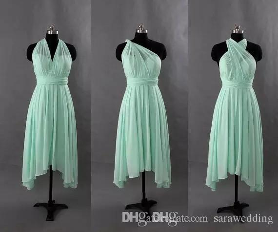 Chiffon breve convertibile abito da damigella d'onore turchese menta verde abito da festa nuziale nuove abiti da damigella d'onore su misura