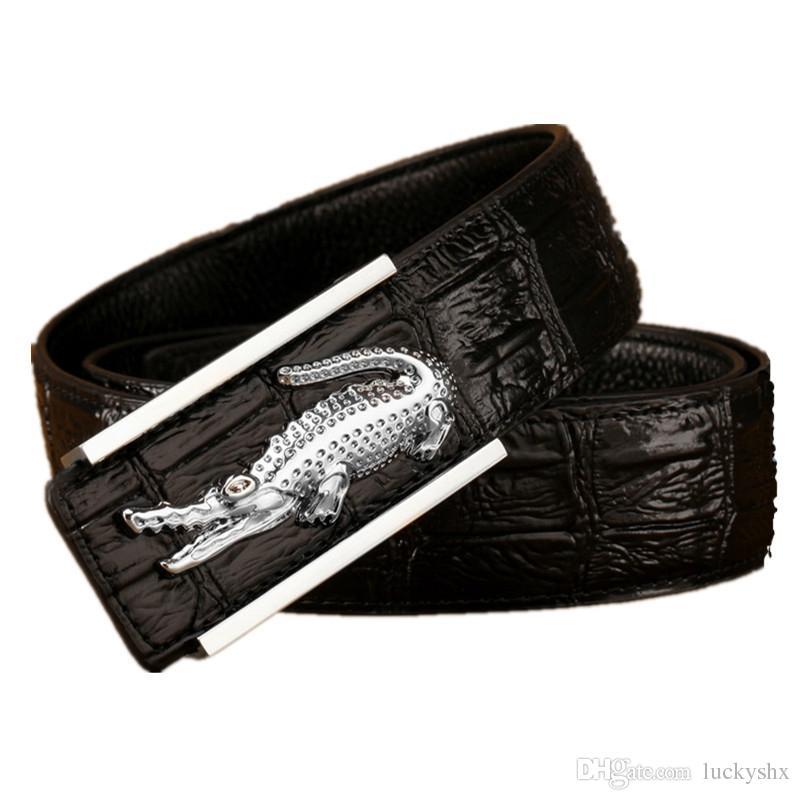 Fibbia in coccodrillo Cintura in vera pelle di coccodrillo Cinture da uomo di lusso Cinture di design per uomo Cinture di alta qualità