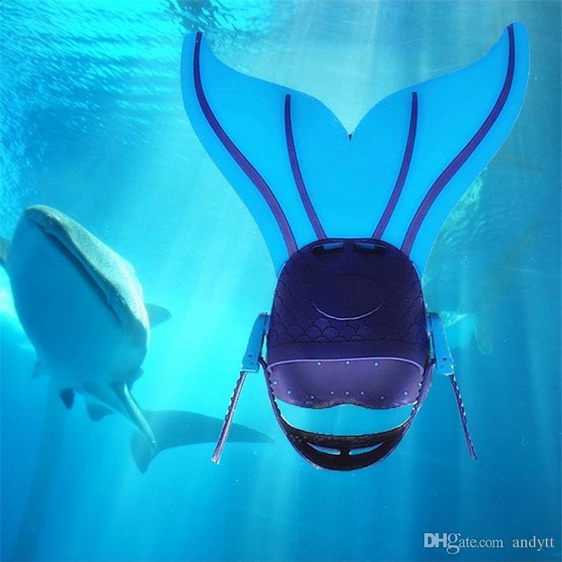 New Fashion Adjustable Mermaid Swim Fin Diving Swimming Foot Flipper Fin Swim Training For Kid Children Christmas Gift free shipping GB003