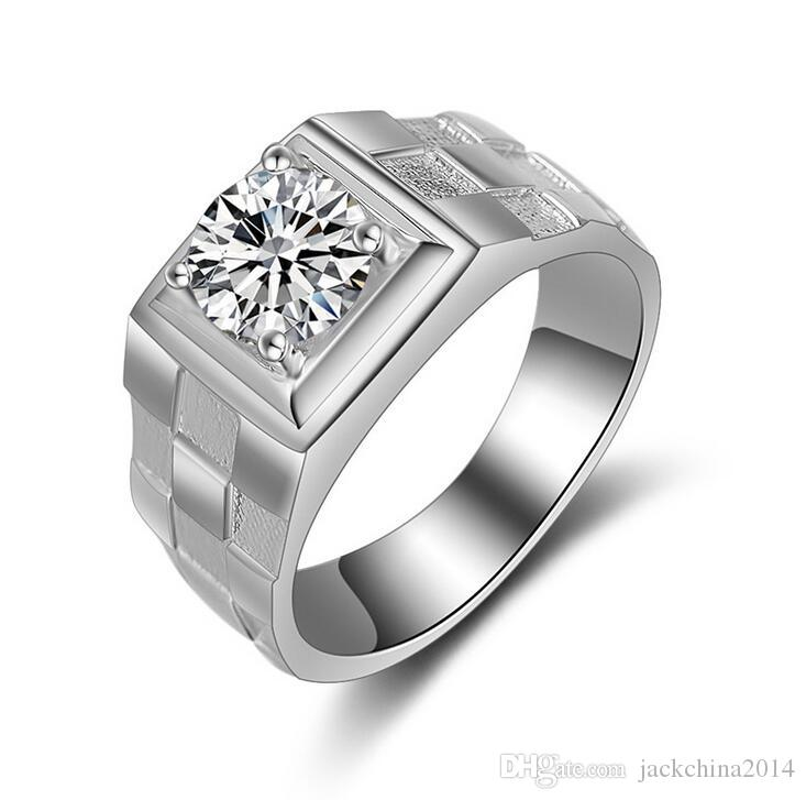 Size 7/8/9/10/11/12 Luxury Jewelry 925 Sterling Silver Solitaire CZ Diamond Women Wedding Three-dimensional Scrub Men Ring For Lovers Gift