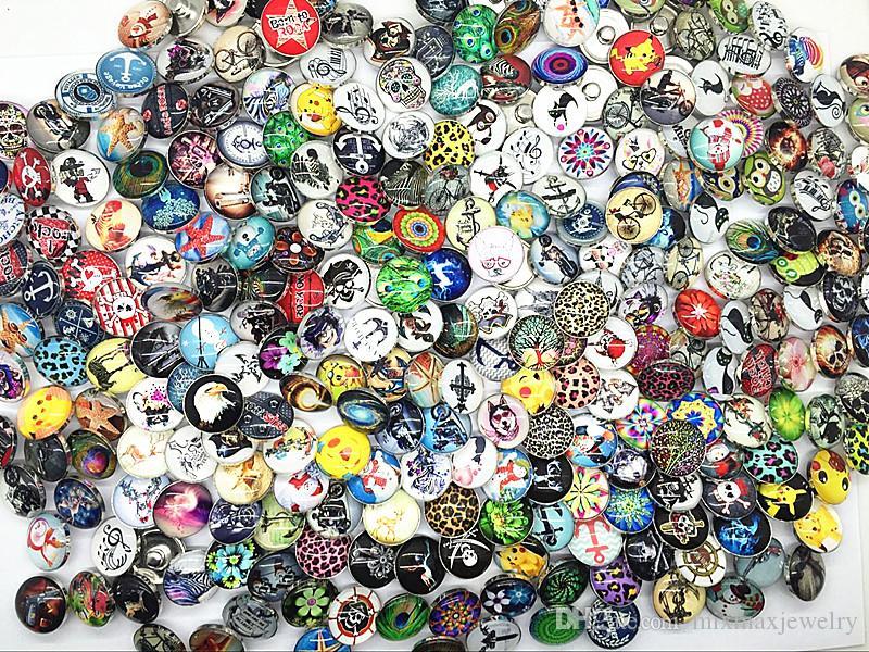 al por mayor surtidos estilos mixtos diferentes de alta definición de 18 mm de vidrio redondo encantos del jengibre encantos botones DIY accesorios de la joyería