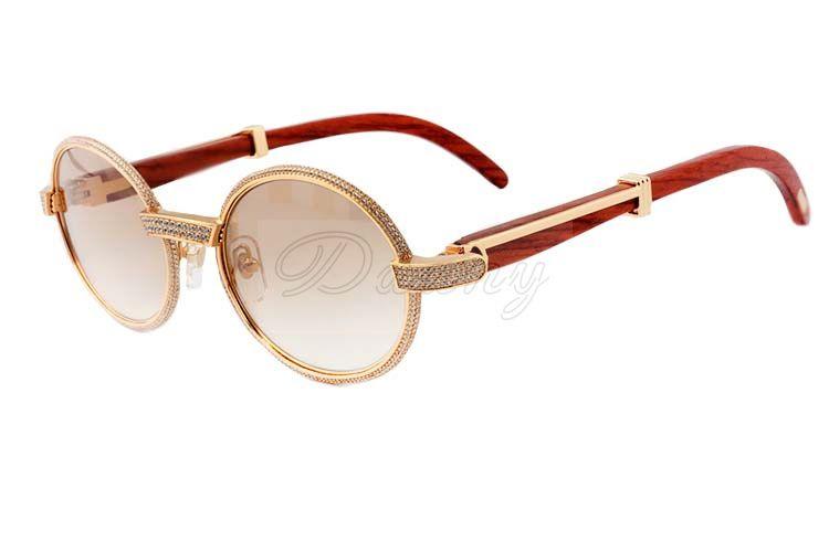 2019 gafas de diamantes nueva madera natural fotograma completo 7550178 gafas de sol de alta calidad de todo el marco es envuelto en diamantes Tamaño: 55-22-135mm