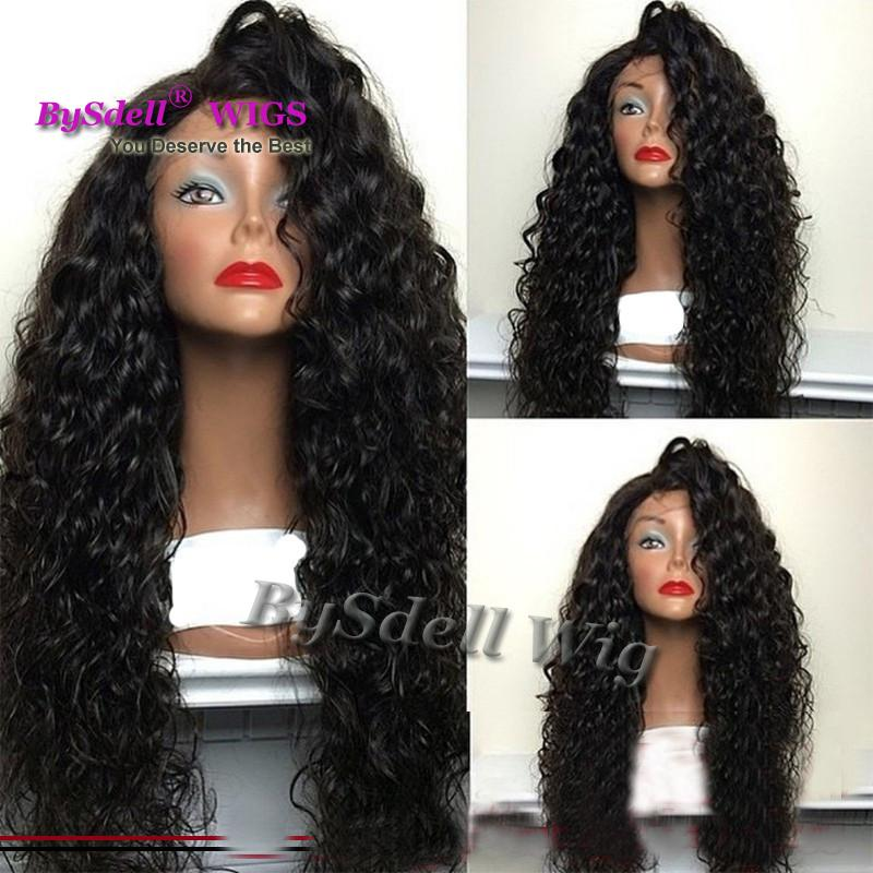 2017 hot selling side part curly Synthetic hair full Lace Front wigs lace wig curly glueless lace front wig for black women