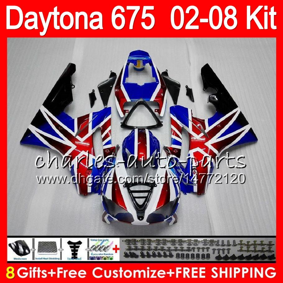 8 cadeaux 23 couleurs bleu Pour Triumph Daytona 675 02 03 04 05 06 07 08 Daytona675 4HM5 Daytona 675 2002 2003 2004 2005 2006 2007 2008 Carénage