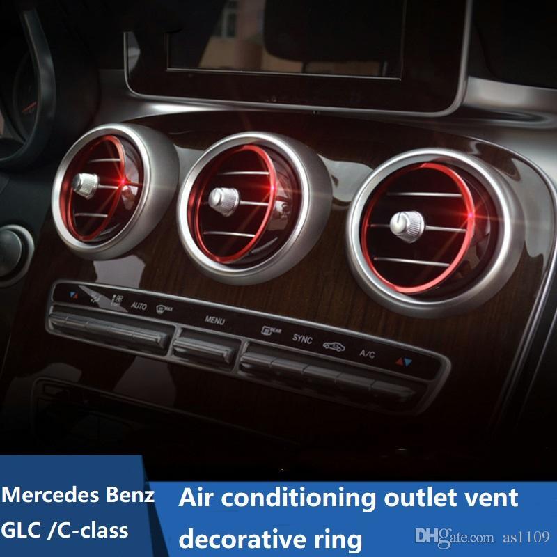 7pcs/установить кондиционер выходе Vent декоративные круг кольцо отделка Для Benz 2015 C-класса W205 на КЗС