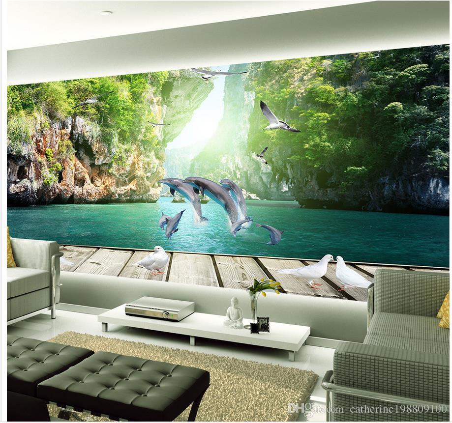 Delfino fresco che gioca acqua legno Guilin paesaggio 3d sfondo muro tappezzeria per pareti 3 d per soggiorno