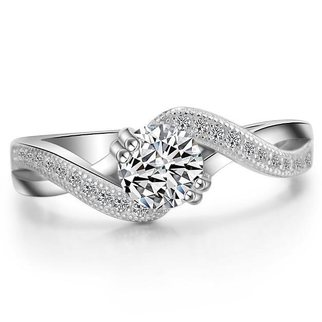ZHF Bijoux 0.6 Ct Princess Cut Fantaisie Créé Diamant Solide 925 En Argent Sterling De Mariage Bague De Fiançailles Bijoux