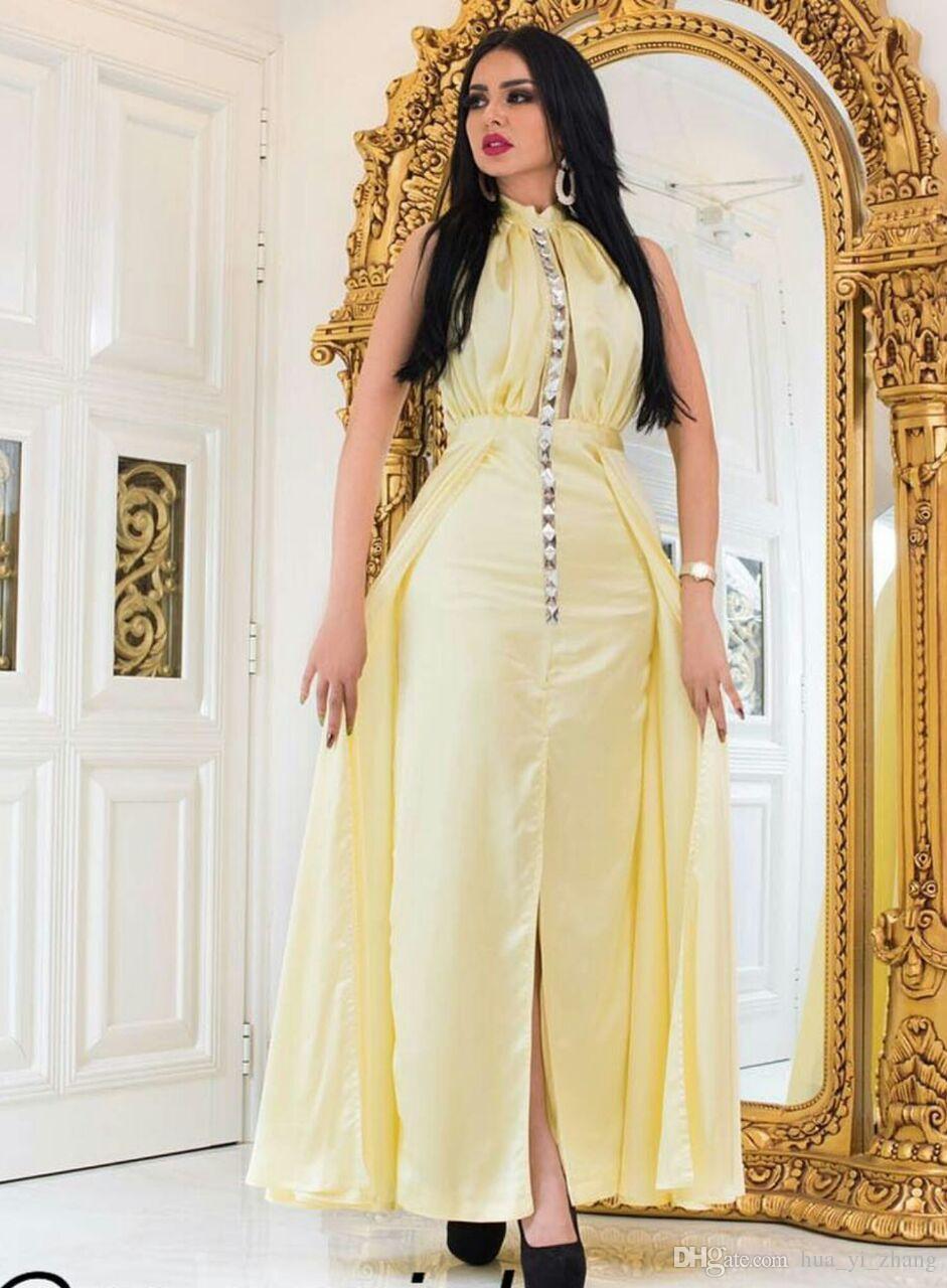 2017 vestidos de cristales de color amarillo claro Vestidos fiesta cabestro con cuentas escote vaina recorte atractivo ojo de la cerradura de la blusa con cuentas altura del tobillo partido se dividió