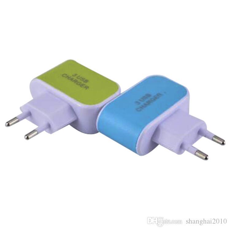 EE. UU. EU Plug 3 USB Cargadores de pared 5V 3.1A Adaptador de viaje de LED Adaptador de corriente conveniente con puertos USB triples para teléfono móvil con opp bag 50pcs