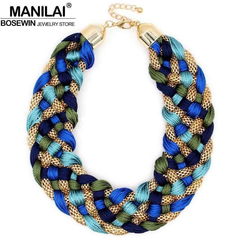 MANILAI мода ткут ручной работы большое ожерелье коренастый цепи женщины колье широкий Макси воротник заявление ожерелья 2016 большие ювелирные изделия