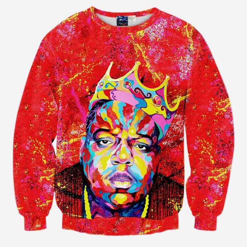 Al por mayor-Nuevos hombres de la moda de otoño 2020 de impresión en 3D novedad gráfico lazo sudadera tinte de impresión Biggie Smalls hip hop cuello redondo suéter con capucha