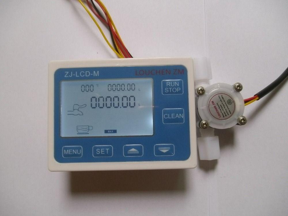 "Freeshipping G1/4"" Water Flow Control LCD Meter + Flowmeter Sensor"