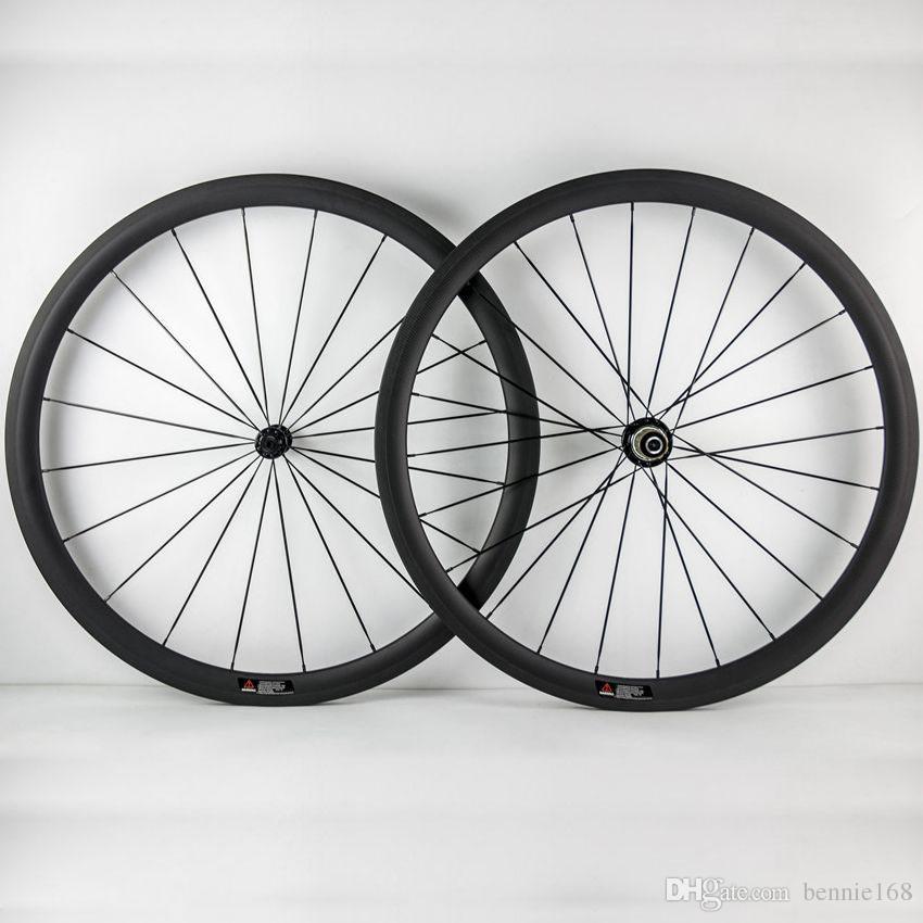 Powerway R36 Hunbs 700C 38mm Depth 23mm Width Carbon Wheels Tubular Clincher 3K Matt Full Carbon Bike Bicycle Wheelset 20/24 Black Spokes