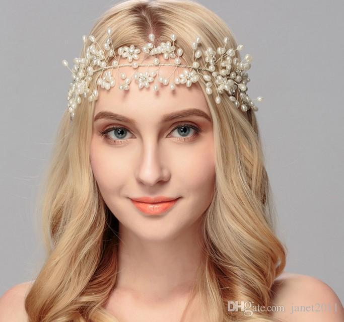 Elegante Perlen Hochzeit Braut Stirn Rebe - Braut Haarteil, Hochzeit Perle Haar Rebe Braut Haarschmuck