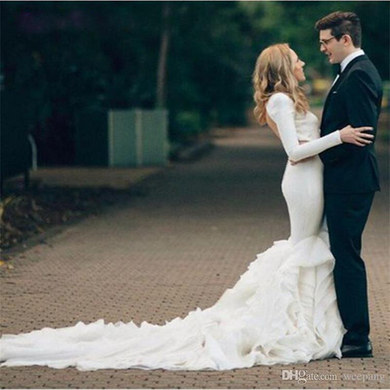 Open Back Long Sleeve Wedding Dresses 2017 Simple Mermaid Gown Ruffles Bottom Vestido De Noiva