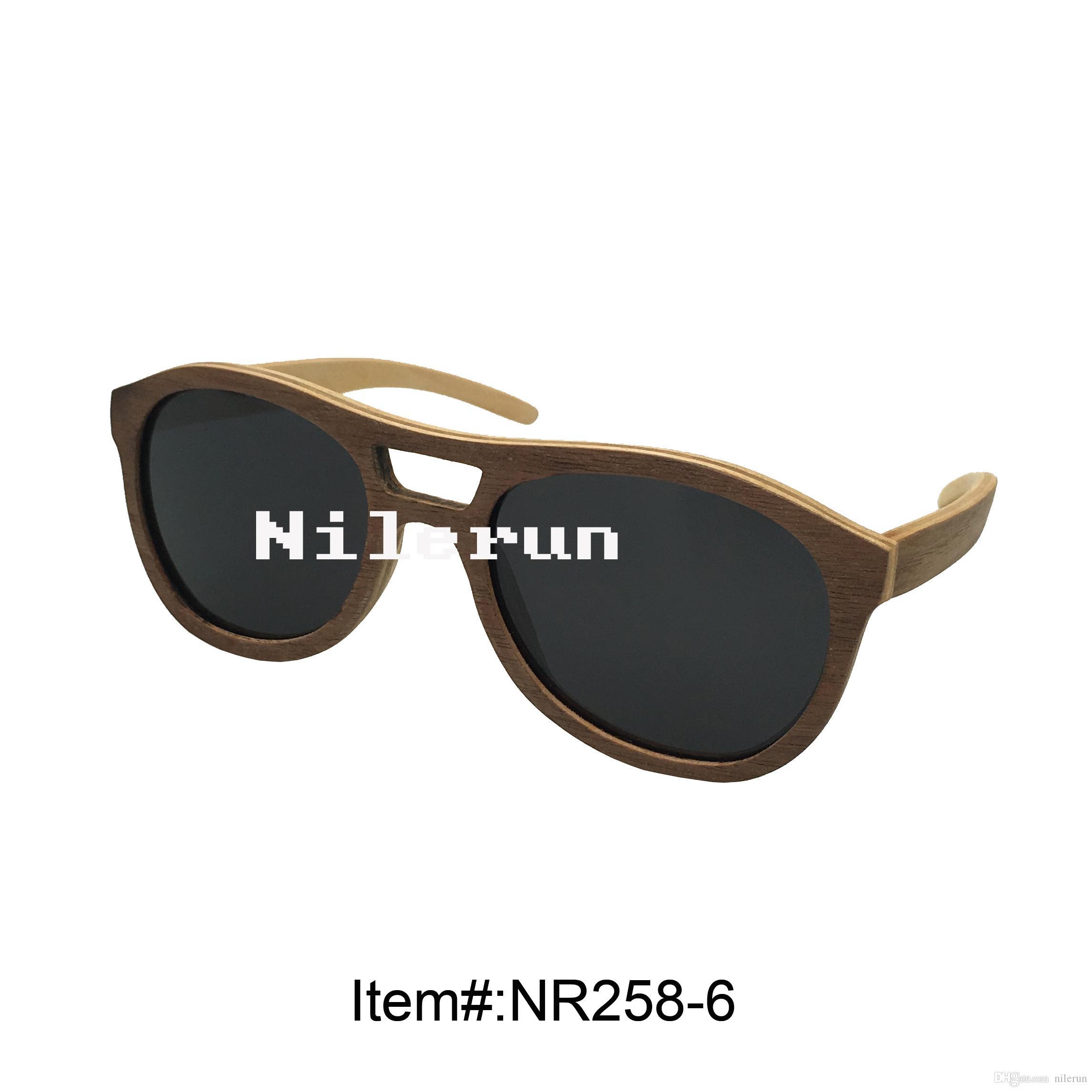 occhiali da sole in multistrato impiallacciato grigio stile pilota